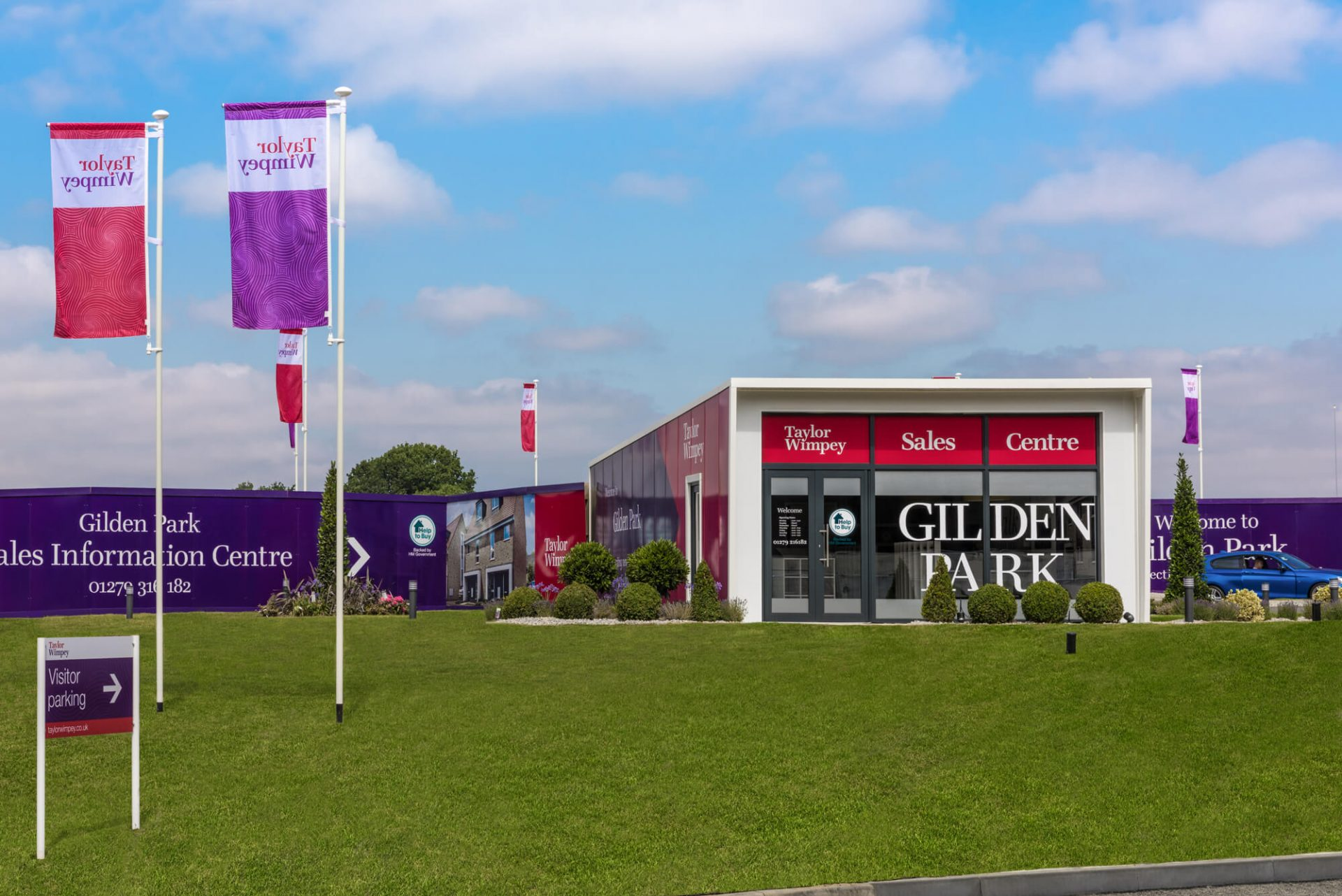Marketing suite design & fit out at Taylor WImpey's Gildren Park development, showcasing the temporary sales space solution; The Property Pod