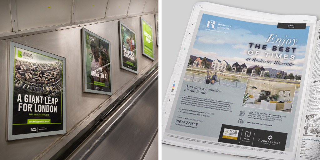 personas inspired the work at Barking Riverside & Rochester Riverside, seen here in the Barking Riverside posters and Rochester Riverside newspaper ad